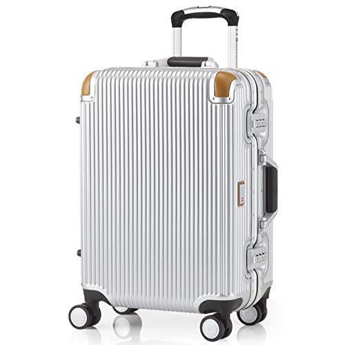 [スイスミリタリー] Premium プレミアム スーツケース Type C アルミフレームタイプ 天然皮革プロテクター TSAロック 軽量 傷防止 [SWISS MILITARY]/Sサイズ 20インチ 34L シルバー(SM-C620N/Chrome