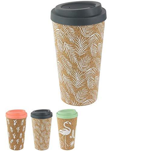 3er Set Kaffee-Becher, Coffee to go, Thermo-Becher, Reisebecher, Tee-Trinkbecher, Kaffee-Tasse zum mitnehmen, Kork Isolierbecher mit Drehverschluss, Gummidichtung, Wiederverwendbar, Umweltfreundlich