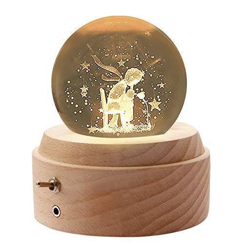 BIAOQINBO Pequeño príncipe & rosa, bola de cristal 3D, iluminación nocturna, caja de música, bola de nieve, cumpleaños, día del niño, regalo de Navidad, decoración para habitación/oficina