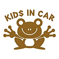 imoninn KIDS in car ステッカー 【シンプル版】 No.22 カエルさん (ゴールドメタリック)