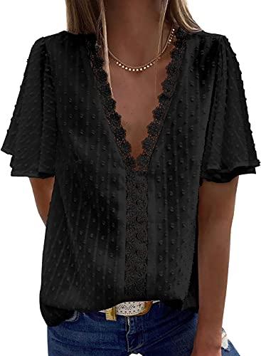 Elegancity Damen Bluse V Ausschnitt Mit Spitzen Hemd Elegant Kurz Fledermausärmel Blusen Damen Tunika Oberteile Tops Für Sommer L, Schwarz