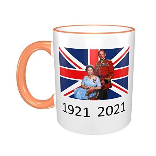 Tasse Queen Elizabeth II & Prinz Philip auf der britischen Flagge, UK Britain Monarch Tasse, 1921–2021, Orange