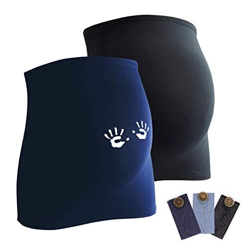 Mamaband Lot de 2 bandeaux de grossesse pour la boule de bébé 1 x uni 1 x main – Chauffe-dos et extension de t-shirt pour femmes enceintes – Mode de grossesse élastique - Bleu - Small