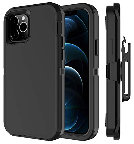 Annymall Compatible with iPhone 12 Pro Max Case Holster Kickstand Rugged Shell Built in Screen Protector 4 in 1 Heavy Duty Shockproof Dust/Drop-Proof for iPhone 12 Pro Max Cover (Black)