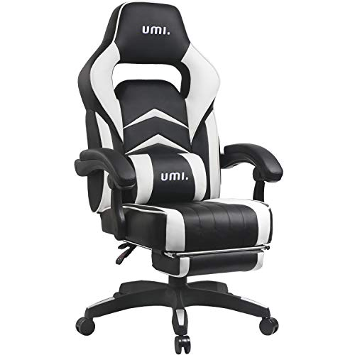 UMI. Essentials Silla Gaming Escritorio Oficina Garantia de 2 anos con Reposapies Respaldo Reclinable Silla Ergonomica Silla Gamer Color Blanco