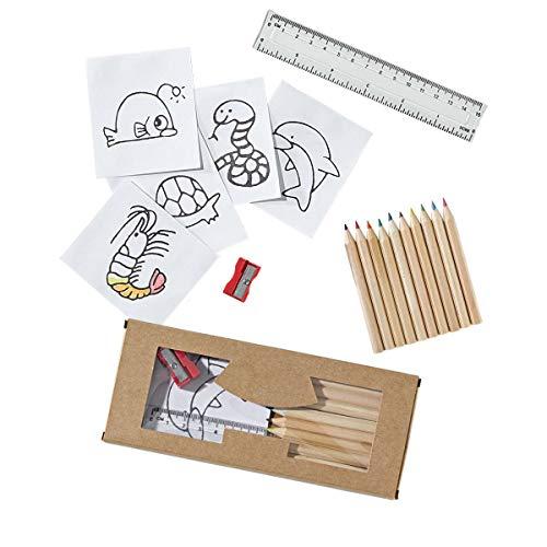 Pureday Buntstifteset 13-TLG, inkl. 10 Stiften, Lineal, Anspitzer - Pappschachtel, Holz, Papier, Kunststoff, Metall - ca. B7,5 x T1 x H18 cm