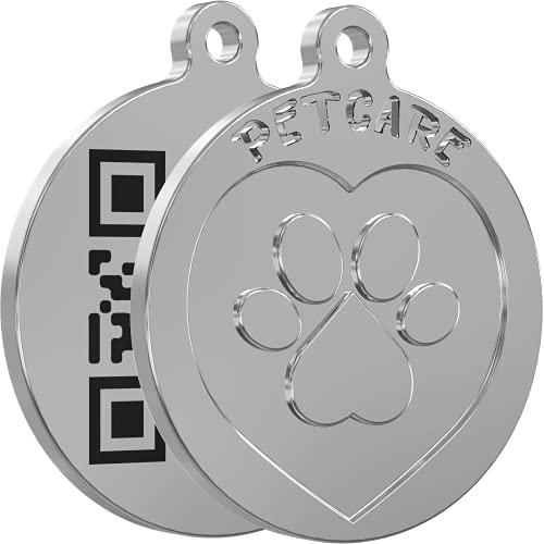 SmarTraqr+ Placa Chapa Localizador para Perro Gato Grande Pequeño acabado Premium Triple Tecnología de Localización GPS sin baterías (ZPS) basado en QR Sin Cuotas Sin Suscripcion para Arnes o Collar