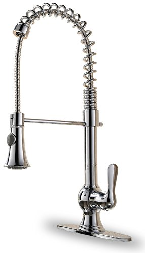 Ispring l8205chr lead-free single-handle commercial-grade pull down kitchen faucet with sprayer spot resistant, luxury chrome finish
