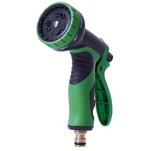 ANSIO Expandable Garden Hose Spray Gun with 9 Pattern Multi-Functional Watering Nozzle Head with Built-in Lock. For Garden, Car, Bike and Pet Wash