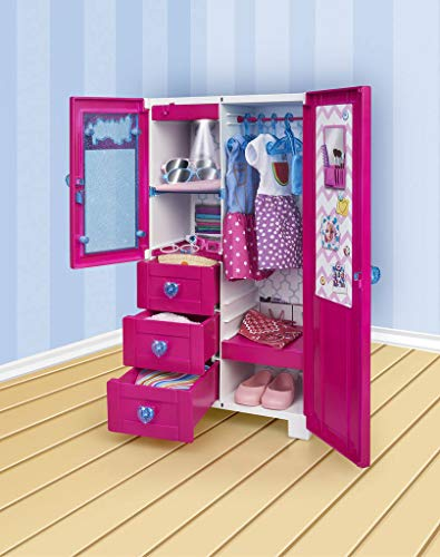 Nancy - Kleiderschrank mit Licht und Aufhänger für Jungen und Mädchen ab 3 Jahren, Mehrfarbig (Famosa 700015137)