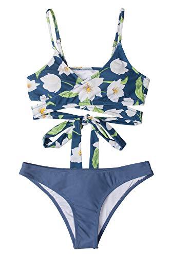 CUPSHE Conjunto de Bikini Mujer Floral Anudado Cintura Baja Traje de Baño de Dos Piezas, L