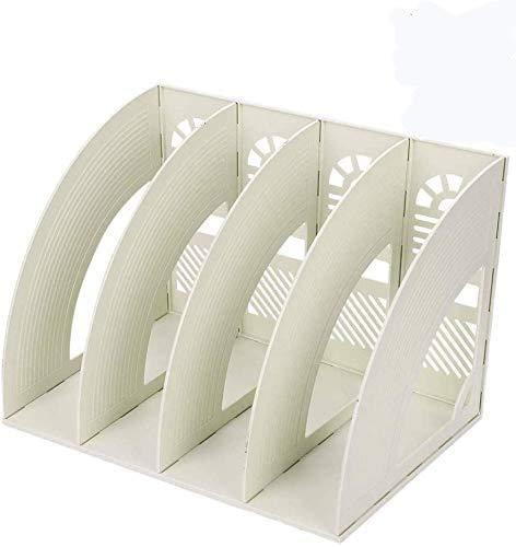 Organizer da scrivania, con 4scomparti, robusto porta-riviste in plastica, divisori per documenti, riviste e libri Off White