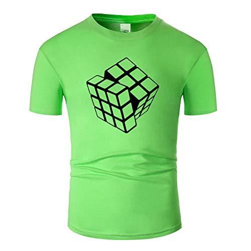 CHWEI Knitted Hat Camisetas Algodón De Moda Casual De Manga Corta Camiseta Divertida O-Cuello Tela Cómoda Estilo De Calle Hombres Mujeres Impresión De Cubo De Rubik