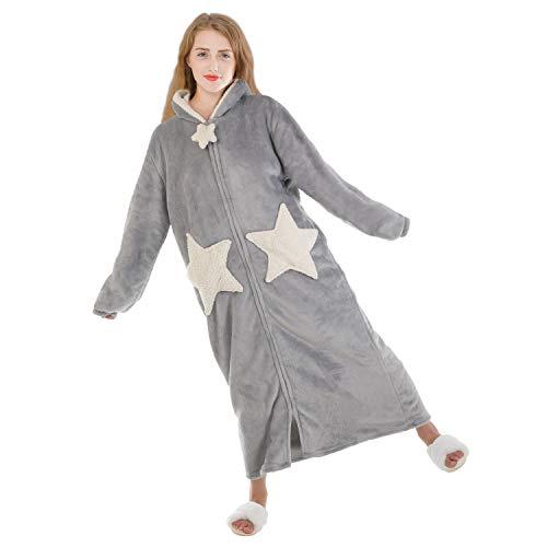 LIBWYS Damen Bademantel Flauschig mit Kapuze Lang Warmer Winter Schlafrock für Frauen mit Reißverschluss