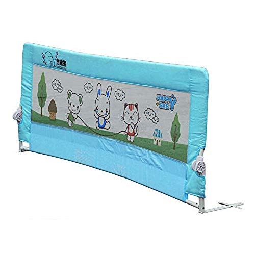 KingSaid Folding Baby Child Toddler Bed Rail Safety Protection Guard Blue - 180x64cm