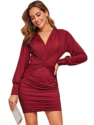 SweatyRocks Women's Deep V Neck Twist Front Ruched Long Sleeve Mini Bodycon Dress