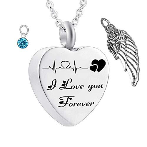Daesar Collares para Cenizas Corazón con ala de Ángel Piedra del Zodíaco y ECG Grabado I Love You Forever con ala de ÁngelDiciembre Azul Cielo