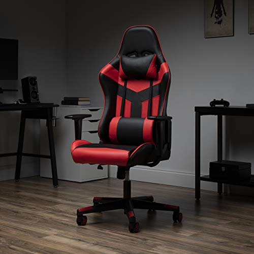 OFM Leather Gaming Chair, High-Back, Red