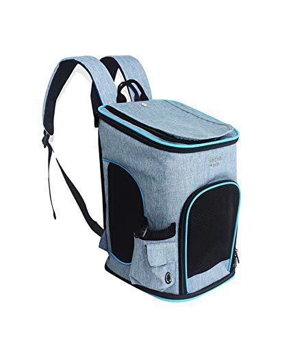ABISTAB Pets robuster Faltbarer Rucksack Haustier Transportbox Hunde und Katze Tragetasche bis 5kg, Atmungsaktive Netz mit Komfort und Sicherheit Graublau
