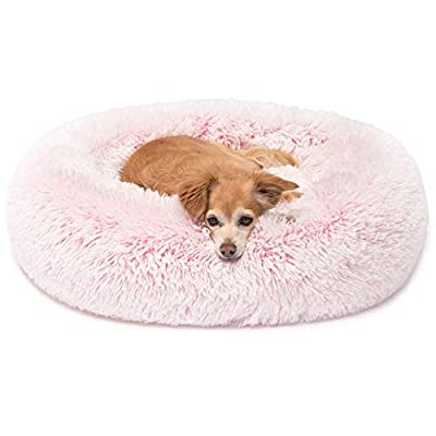 Friends Forever Luxury Pet Calming Bed for Dogs | Faux Fur Anti Anxiety Pink Dog Bed Cute Fluffy Round Pillow Cuddler | Donut beds for Cats & Medium Size Dogs -Puppy Love Pink Small 23x23