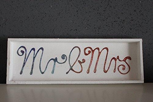 Holztablett, weiß, bunt/gold, Mr&Mrs