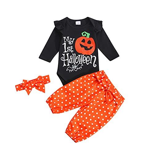 My First Halloween - Sudadera de manga larga para bebés, pantalones largos para Halloween, ropa de invierno, Naranja Negro, 18 meses