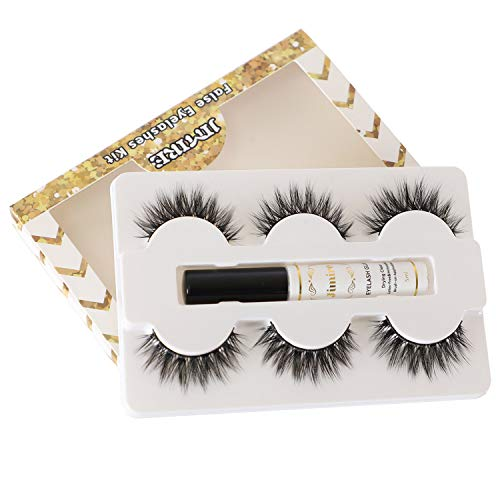 JIMIRE False Eyelashes with Glue, Full Volume Lashes 3 Pairs with Drying Clear Adhesive