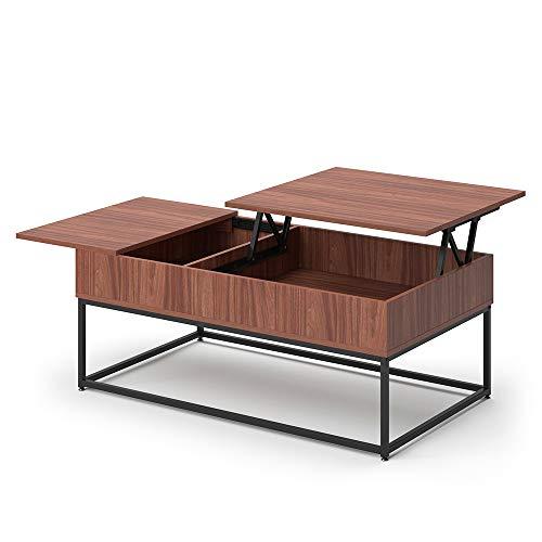 Vicco Couchtisch Lars Liftfunktion Kaffeetisch Wohnzimmertisch 2 Fächer Tisch (Nussbaum)