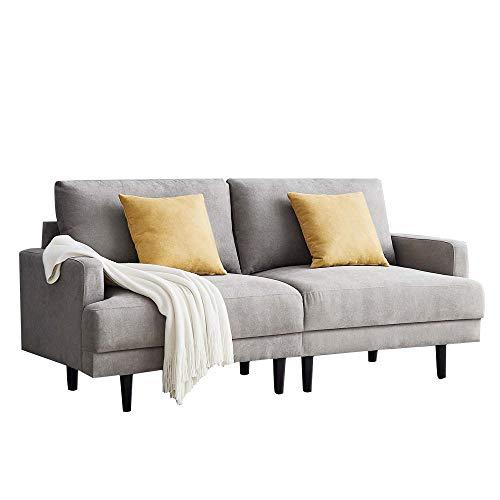Sofás de salón de montaje sencillo sin herramientas, sofá de 2 plazas para sala de estar, apartamento y espacio pequeño, sofá de tela moderno, 180 x 77 x 83 cm, color gris