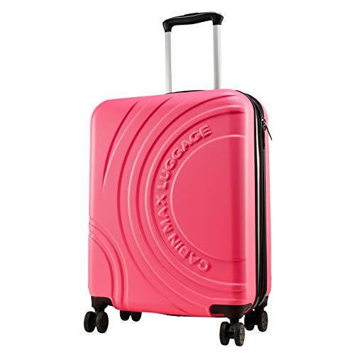 Cabin Max Velocity Trolley Rigido Cabin Size Leggero | Valigia con 4 Ruote in ABS Resistente 55x40x20 con Zip ESPANDIBILE a 55x40x25. Approvato per Voli Ryanair, EasyJet, BA (Rosa Brillante)