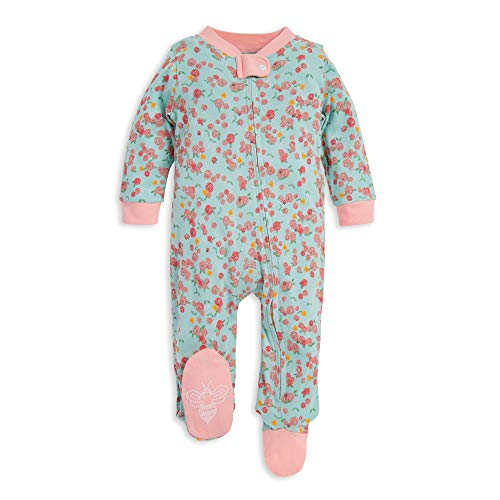 Burt's Bees Baby baby girls & Play, Organic One-piece Romper-jumpsuit Pj, Zip Front Footed Pajama and Toddler Sleepers, Ditsy Floral, 3-6 Months US