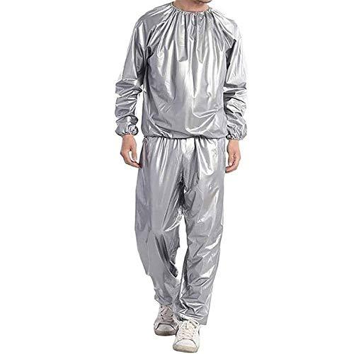 Fitness-Schweiß-Saunaanzug Ganzkörper-Schweiß-Saunaanzug PVC Anti-Tear-Trainingsanzug Für Männer Frauen (Color : Silver, Size : 5XL)