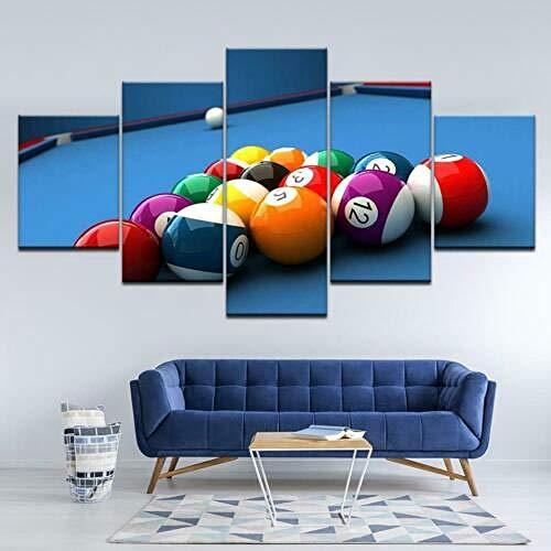 Luck7 Billardtisch Pool Balls 5 Panel Leinwand Wandkunst Home Decor Poster Print Moderne Ölgemälde Giclée Bürodekoration-150 * 80cm