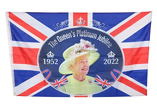 Toyland® 150cm x 91cm Queens Platinum Jubilee Union Jack Flagge mit Ihrer Majestät der Königin - Britische Dekorationen