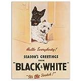 Blanco Y Negro whisky Escocés con scotty perros Navidad anuncio para bebida. Sin whisky botella Antigua retro anuncio vintage para el hogar, casa, Metal/Cartel De Acero Para Pared - acero, 15 x 20 cm
