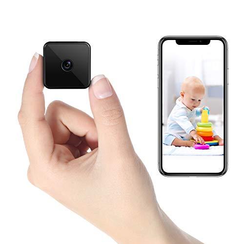 Mini Kamera WLAN, HD WiFi Überwachungskamera Kompakte Kleine Sicherheitskamera - Lange Standby-Zeit von 7 Tagen,Wireless Nanny Cam mit IR Nachtsicht, unterstützt Remote Aufwachen