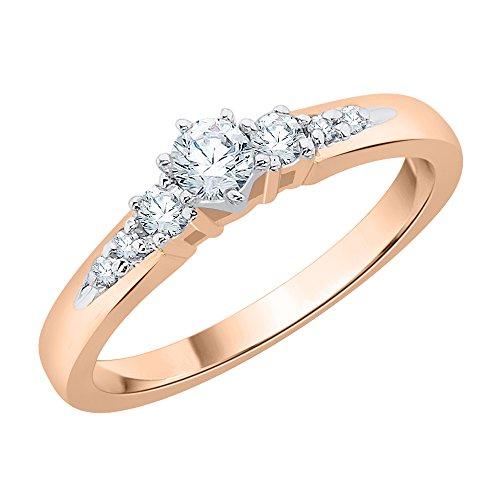 Anillo de compromiso con tres piedras y diamantes en oro rosa de 14 k (1/3 cttw) (Color-JK, Claridad-SI2/I1) (Tamaño-12.25)