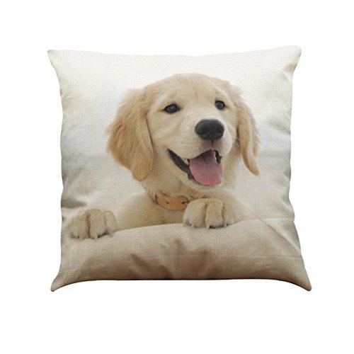 Luckhome cotton linen Square Pillow Case, Your Cute Pet Dog Throw Pillow Case Cushion Cover Home Decor( 45 x 45cm/ 18x18) (C)