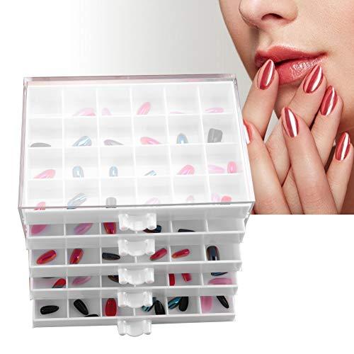 Caja de taladro de uñas de caja de exhibición de acrílico caja de joyería de uñas caja de almacenamiento de aceite de uñas 5 capas 120 rejilla caja de joyas de gran capacidad(blanco)