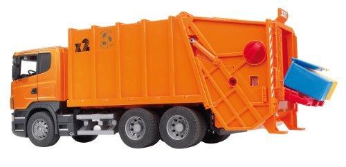 Bruder 03560 - SCANIA R-Serie Müll-LKW, orange, Müllabfuhr