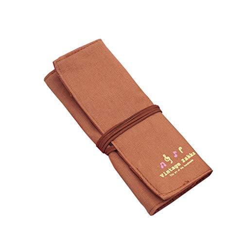 teng hong hui Pluma Abrigo de la Lona Rueda para Arriba la Bolsa de papelería Roll Up de Escritorio del Maquillaje Cepillos la Caja de lápiz del sostenedor Retro Cortina lápiz Bolsa