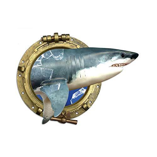 GRAZDesign Wandtattoo Bad Badezimmer WC Meer Ozean, Fliesensticker Fliesentattoo Bullauge mit Hai, Wanddeko maritim Fisch Unterwasserwelt / 51x40cm