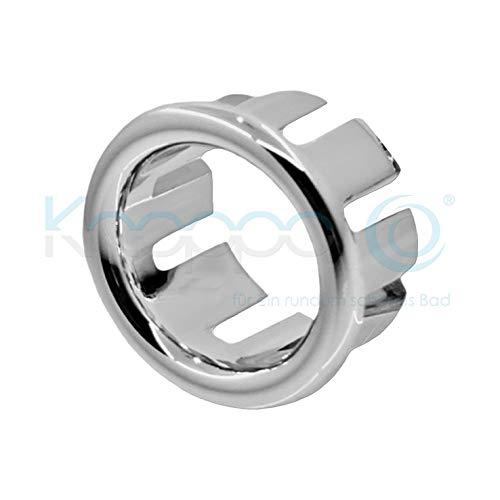 KNOPPO® Waschbecken Überlauf Abdeckung, Überlaufblende - Ring (in 6 verschiedene Design-Modelle) chrom