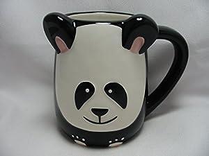 Panda Bear Hand Painted 16oz Panda Stone ware Coffee Mug by Tag