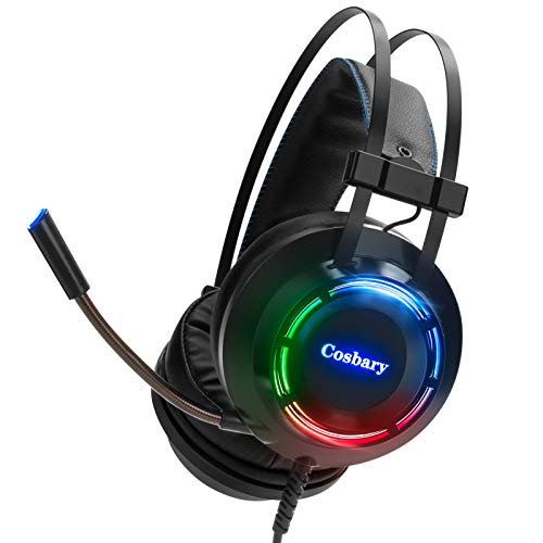 COSBARY Gaming Headset for Xbox One Stereo Headset with 7.1 Surround Sound 50mm Drivers LED Light Gaming Headset with Noise Canceling Mic for PS4 and PC