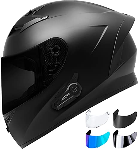 Bluetooth Motorcycle Helmet with Clear, Tinted, Chrome, Iridium Shields - XXL