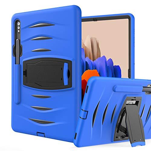 Funda para Galaxy Tab S7 Plus 12.4-Pulgadas 2020 (SM-T970/T975/T976), Cubierta Protectora Completa a Prueba de Golpes de Tres Capa con Soporte, Funda Robusta Antichoque,Blue