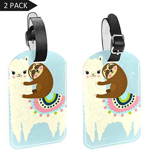 MUOOUM Cute Fluffy Llama Alpaca Sloth Best Friends Luggage Tages Travel Labels Suitcase Bag Tag with Name Address Cards 2 Pcs Set