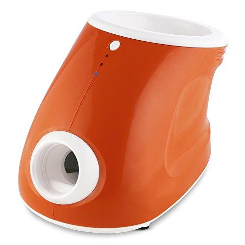 Oneconcept Ballyhoo - Lanzador de Pelotas automático para Perros, Juguete Inteligente para Mascotas, Ajustable 3 distancias 3, 6 y 10 m, Incluye 3 Pelotas Blandas, Portátil para jardín, Naranja