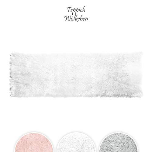 Teppich Wölkchen Lammfell-Teppich Kunstfell Schaffell Imitat | Wohnzimmer Schlafzimmer Kinderzimmer | Als Faux Bett-Vorleger oder Matte für Stuhl Sofa (Weiss - 50 x 150 cm Rechteckig)